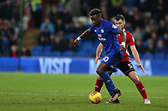 Omar Bogle of Cardiff City (l) is challenged by Tommy Smith of Ipswich Town.EFL Skybet championship match, Cardiff city v Ipswich Town at the Cardiff city stadium in Cardiff, South Wales on Tuesday 31st October 2017.<br /> pic by Andrew Orchard, Andrew Orchard sports photography.