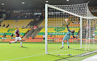 Football - 2019 / 2020 Premier League - Norwich City vs. Burnley<br /> <br /> Norwich City's Tim Krul denies Burnley's Chris Wood, at Carrow Road.<br /> <br /> COLORSPORT/ASHLEY WESTERN