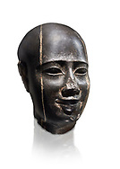 Ancient Egyptian statue bust of a male, graanodiorite, Late Period, (722-322 BC). Egyptian Museum, Turin. Grey background.  white background. Drovetti collection. Cat 3139 .<br /> <br /> If you prefer to buy from our ALAMY PHOTO LIBRARY  Collection visit : https://www.alamy.com/portfolio/paul-williams-funkystock/ancient-egyptian-art-artefacts.html  . Type -   Turin   - into the LOWER SEARCH WITHIN GALLERY box. Refine search by adding background colour, subject etc<br /> <br /> Visit our ANCIENT WORLD PHOTO COLLECTIONS for more photos to download or buy as wall art prints https://funkystock.photoshelter.com/gallery-collection/Ancient-World-Art-Antiquities-Historic-Sites-Pictures-Images-of/C00006u26yqSkDOM