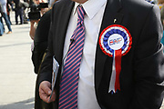 Leader of the British National Party Nick Griffin talks to constituents in the constituency of Barking and Dagenham.