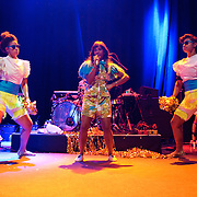 WASHINGTON, DC - June 18th, 2012 - Santi White, aka Santigold, (center) performs a sold out show at the 9:30 Club in Washington, D.C. White released her sophomore album, Master of My Make-Believe, in April. (Photo by Kyle Gustafson/For The Washington Post)