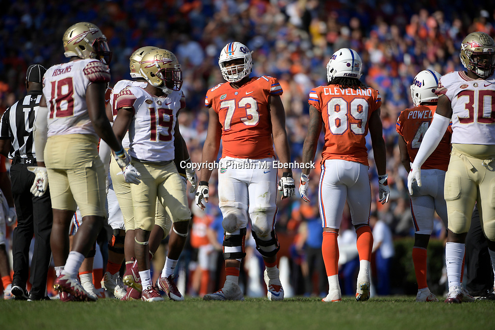 Florida offensive lineman Martez Ivey (73) lines up for a play at the line of scrimmage during the second half of an NCAA college football game against Florida State Saturday, Nov. 25, 2017, in Gainesville, Fla. FSU won 38-22. (Photo by Phelan M. Ebenhack)