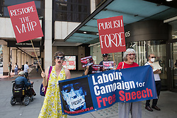 Supporters of the Labour Campaign for Free Speech attend a protest lobby outside the Labour Party's headquarters by left-wing groups on 20th July 2021 in London, United Kingdom. The lobby was organised to coincide with a Labour Party National Executive Committee meeting during which it was asked to proscribe four organisations, Resist, Labour Against the Witchhunt, Labour In Exile and Socialist Appeal, members of which could then be automatically expelled from the Labour Party.
