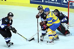 20.04.2016, Dom Sportova, Zagreb, CRO, IIHF WM, Ukraine vs Estland, Division I, Gruppe B, im Bild Daniil Fursa, Oleg Shafarenko, Daniil Seppenen // during the 2016 IIHF Ice Hockey World Championship, Division I, Group B, match between Ukraine and Estonia at the Dom Sportova in Zagreb, Croatia on 2016/04/20. EXPA Pictures © 2016, PhotoCredit: EXPA/ Pixsell/ Goran Stanzl<br /> <br /> *****ATTENTION - for AUT, SLO, SUI, SWE, ITA, FRA only*****