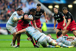Mako Vunipola of Saracens takes on the Racing 92 defence - Mandatory byline: Patrick Khachfe/JMP - 07966 386802 - 14/05/2016 - RUGBY UNION - Grand Stade de Lyon - Lyon, France - Saracens v Racing 92 - European Rugby Champions Cup Final.