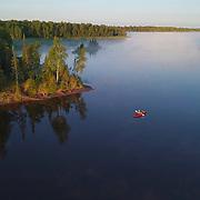 Aerial view of kayaking on Island Lake, Minnesota.