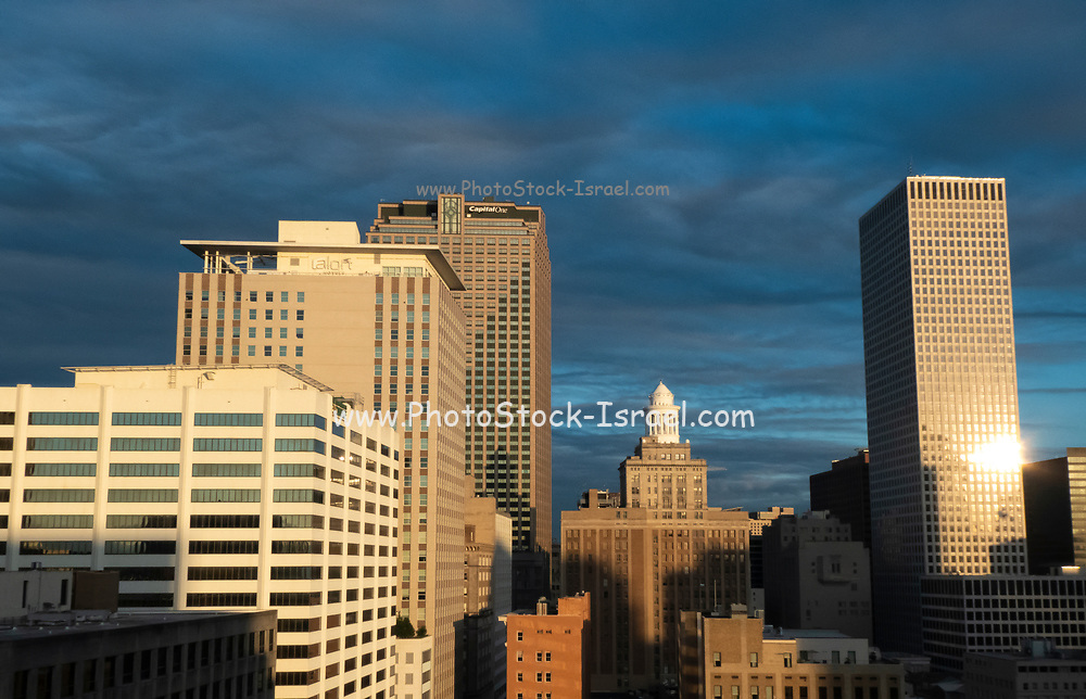New Orleans, Louisiana, Central Business District, downtown, during the sunset