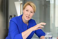 19 AUG 2019, BERLIN/GERMANY:<br /> Franziska Giffey, SPD, Bundesfamilienministerin, waehrend einem Doppel-Interview mit J ens S pahn (nicht im Bild), CDU, Bundesgesundheitsminister, Redaktionsvertretung der Rheinischen Post<br /> IMAGE: 20190819-01-044