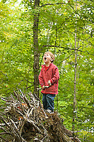 Young boy playing in forest in rural New Hampshire. Lake Ossipee, NH