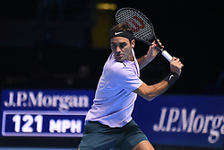 November 16, 2017 - London, England, United Kingdom - Switzerland's Roger Federer returns to Croatia's Marin Cilic during their men's singles round-robin match on day five of the ATP World Tour Finals tennis tournament at the O2 Arena in London on November 16, 2017. (Credit Image: © Alberto Pezzali/NurPhoto via ZUMA Press)