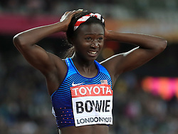 USA's Tori Bowie reacts after winning the women's 100m final during day three of the 2017 IAAF World Championships at the London Stadium.