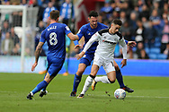 Tom Lawrence of Derby county goes past Sean Morrison of Cardiff city. EFL Skybet championship match, Cardiff city v Derby County at the Cardiff city stadium in Cardiff, South Wales on Saturday 30th September 2017.<br /> pic by Andrew Orchard, Andrew Orchard sports photography.