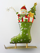 Wooden Christmas skate decorations