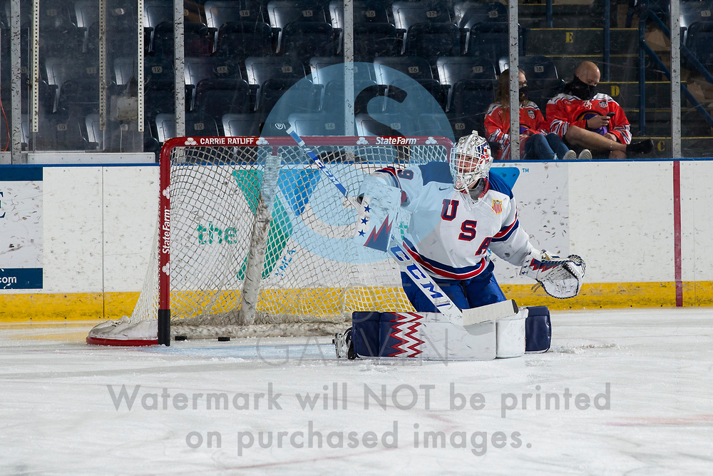 The Youngstown Phantoms defeat Team USA U-18 5-2 at the Covelli Centre on January 30, 2021.<br /> <br /> Gibson Homer, goalie, 29
