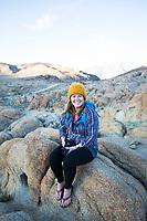 Hiking in the Alabama Hills, California.