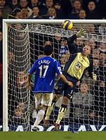 Photo: Paul Greenwood.<br />Everton v Blackburn Rovers. The Barclays Premiership. 10/02/2007. Blackburn's Brad Friedel, right, saves from Everton's Tim Cahill