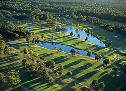 Stock photo of an aerial view of the Memorial Park golf course lakes