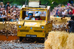 The Red Bull Soapbox Race takes place at Alexandra Palace in North London with competitors racing their home-built go-karts along a 450m obstacle-strewn course in front of a crowd of 20,000. London, July 07 2019.