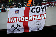"""a West Ham United flag with """"Haddenham"""" & Bobby Moore is seen on one of the stands. Premier league match, West Ham Utd v AFC Bournemouth at the London Stadium, Queen Elizabeth Olympic Park in London on Sunday 21st August 2016.<br /> pic by John Patrick Fletcher, Andrew Orchard sports photography."""