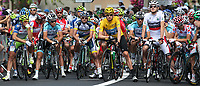 CYCLING - TOUR DE FRANCE 2012 - STAGE 14 - Limoux > Foix (192 km) - 15/07/2012 - PHOTO MANUEL BLONDEAU / DPPI - OVERALL LEADER'S YELLOW JERSEY, SKY PROCYCLING TEAMRIDER BRADLEY WIGGINS OF GREAT BRITAIN IS PICTURED ON THE STARTING LINE