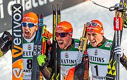 24.02.2017, Lahti, FIN, FIS Weltmeisterschaften Ski Nordisch, Lahti 2017, Nordische Kombination, Flower Zeremonie, im Bild Bronzemedaillen Gewinner Bjoern Kircheisen (GER), Goldmedaillen Gewinner Johannes Rydzek (GER), Silbermedaillen Gewinner Eric Frenzel (GER) // Bronze Medalist Bjoern Kircheisen of Germany Gold Medalist Johannes Rydzek of Germany Silver Medalist Eric Frenzel of Germany celebrate during the Nordic Combined Competition of FIS Nordic Ski World Championships 2017. Lahti, Finland on 2017/02/24. EXPA Pictures © 2017, PhotoCredit: EXPA/ JFK