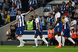 April 23, 2018 - Porto, Porto, Portugal - Porto's Spanish defender Ivan Marcano (L) celebrates after scoring a goal during the Premier League 2016/17 match between FC Porto and Vitoria FC, at Dragao Stadium in Porto on April 23, 2018. (Credit Image: © Dpi/NurPhoto via ZUMA Press)