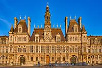 Paris , France - April 26 , 2020 :  family leisure on hotel de ville square during  lock down coronavirus covid-19 quarantine