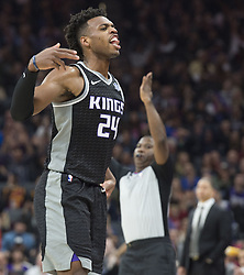 December 27, 2017 - Sacramento, CA, USA - The Sacramento Kings' Buddy Hield (24) celebrates a 3-point basket against the Cleveland Cavaliers on Wednesday, Dec. 27, 2017, at Golden 1 Center in Sacramento, Calif. (Credit Image: © Hector Amezcua/TNS via ZUMA Wire)