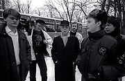 Billy Bragg with Peter Jenner in Moscow 1988