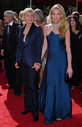 Ellen DeGeneres (left) and Portia de Rossi attend the 59th Annual Primetime Emmy Awards at the Shrine Auditorium in Los Angeles, California, Sunday, September 16, 2007. (Photo by Lionel Hahn/Abaca Press/MCT/Sipa USA)