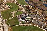 Aerial view of the Ocean Course golf clubhouse on Kiawah Island, SC.