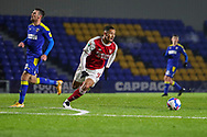 Arsenal defender William Saliba (4) cutting off through ball during the EFL Trophy match between AFC Wimbledon and U21 Arsenal at Plough Lane, London, United Kingdom on 8 December 2020.