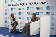 Author Holly Bourne in conversation with Sarah Shaffi at The English Pen Literary Salon during Day three of the London Book Fair on the 14th March 2019 at London Olympia in the United Kingdom. Holly Bourne is a British author of young adult fiction. She is the author of best-selling novel Am I Normal Yet? and several other critically acclaimed books.