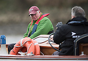 Putney, London, Union Athletics USA. Crew Coach, Burt APFELBAUM watch's the racing from the umpires launch at the Pre Boat Race Fixture, Oxford University Women's Boat Club {OUWBC} vs Molesey Boat Club, over the River Thames, Championship Course Putney to Mortlake Sunday  22/02/2015  [Mandatory Credit; Peter Spurrier/Intersport-images], Henley Umpires Launches, Panache