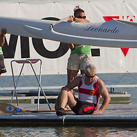 Gerhard Bowitzky from Germany waits for his boat control session after competing in the V1 200m Paracanoe LTA final during the 2011 ICF World Canoe Sprint Championships held in Szeged, Hungary. Thursday, 18. August 2011. ATTILA VOLGYI
