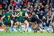 Australia's David Klemmer is blocked by New Zealand's defence during the Ladbrokes Four Nations match between Australia and New Zealand at Anfield, Liverpool, England on 20 November 2016. Photo by Craig Galloway.