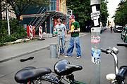 BERLIN, GERMANY - 26/06/2008 - TRAVEL, Two guys videotaping at the Alte Schonhauserstrasse..cfr. Berlin, Germany, capital, ..©Christophe VANDER EECKEN