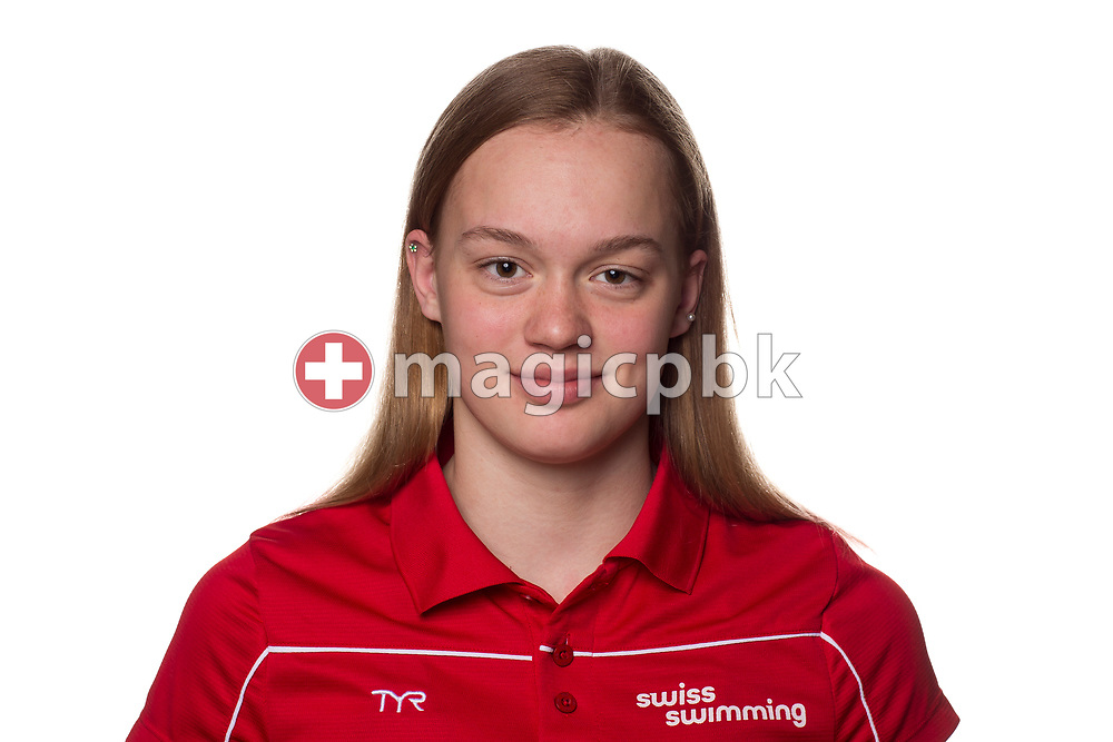 Swimmer Kim BACHMANN, of UI  poses for a portrait photo during the Swiss Swimming Championships at the Piscine des Vernets in Geneva, Switzerland, Sunday, April 8, 2018. (Photo by Patrick B. Kraemer / MAGICPBK)