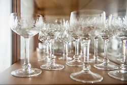 Crystal glasses arranging on a table, Bavaria, Germany