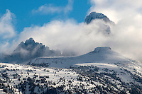 Grand Teton, Mount Owen and Table Mountain with clearing winter storm clouds