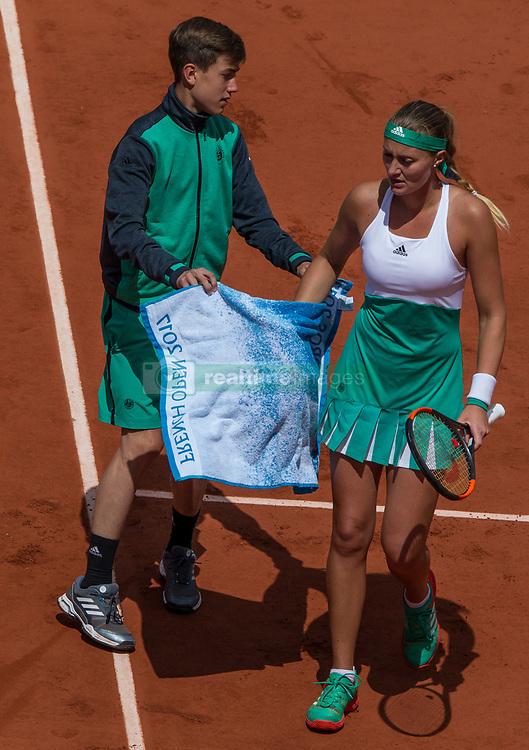 June 6, 2017 - Paris, France - Kristina Mladenovic of France rest a bit during the quarterfinals at Roland Garros Grand Slam Tournament - Day 10 on June 6, 2017 in Paris, France. (Credit Image: © Robert Szaniszlo/NurPhoto via ZUMA Press)