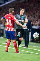 Atletico de Madrid's Gabi Fernandez and Malaga's Federico Ricca during La Liga match between Atletico de Madrid and Malaga CF at Wanda Metropolitano in Madrid, Spain September 16, 2017. (ALTERPHOTOS/Borja B.Hojas)