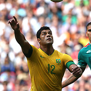 Hulk, Brazil, in action during the Brazil V Mexico Gold Medal Men's Football match at Wembley Stadium during the London 2012 Olympic games. London, UK. 11th August 2012. Photo Tim Clayton