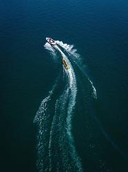 THEMENBILD - Touristen auf einem Bananenboot am Zeller See, aufgenommen am 30. Juni 2019 in Zell am See, Österreich // People riding a banana boat on the Zeller Lake, Zell am See, Austria on 2019/06/30. EXPA Pictures © 2019, PhotoCredit: EXPA/ JFK