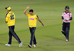 Hampshire's Chris Wood and Hampshire's Jackson Bird celebrate the wicket of Middlesex's Neil Dexter - Photo mandatory by-line: Robbie Stephenson/JMP - Mobile: 07966 386802 - 04/06/2015 - SPORT - Cricket - Southampton - The Ageas Bowl - Hampshire v Middlesex - Natwest T20 Blast