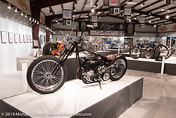 Raw Iron Choppers' Jesse Srpan's AMOUR 93 inch S&S Knucklehead in the What's the Skinny Exhibition (2019 iteration of the Motorcycles as Art annual series) at the Sturgis Buffalo Chip during the Sturgis Black Hills Motorcycle Rally. SD, USA. Thursday, August 8, 2019. Photography ©2019 Michael Lichter.