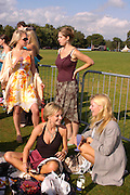 Sarita Ward, Rachel Whitworth, ( standing) Caroline Hyde and Sarah Milne. ( sitting) Cartier International Day at Guards Polo Club, Windsor Great Park. July 24, 2005. ONE TIME USE ONLY - DO NOT ARCHIVE  © Copyright Photograph by Dafydd Jones 66 Stockwell Park Rd. London SW9 0DA Tel 020 7733 0108 www.dafjones.com