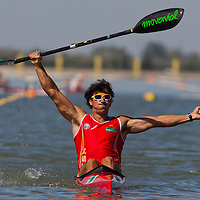 Pablo Andres from Spain celebrates the victory of his team in the K1 men Kayak 4x200m relay final of the 2011 ICF World Canoe Sprint Championships held in Szeged, Hungary on August 21, 2011. ATTILA VOLGYI