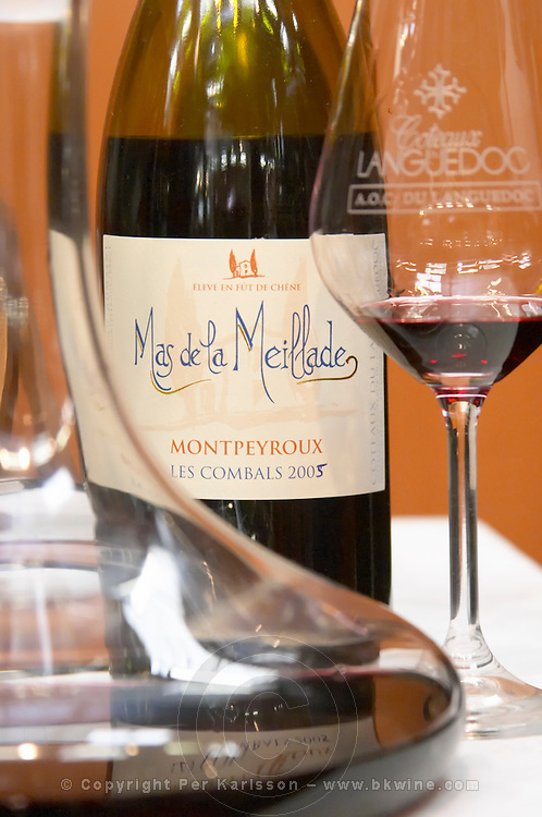 Mas de la Meillade Les Combals Montpeyroux, Languedoc, France, a carafe decanter and glass engraved with Languedoc