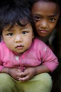 A portrait of young Sherpa girls, Annapurna Sanctuary, Nepal